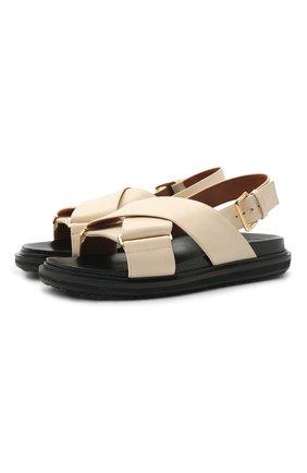 Женские кожаные сандалии MARNI белого цвета, арт. FBMS005201/P3614 | Фото 1