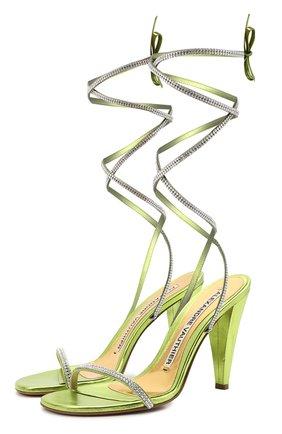 Женские кожаные босоножки amina ALEXANDRE VAUTHIER светло-зеленого цвета, арт. AMINASANDALCR   Фото 1