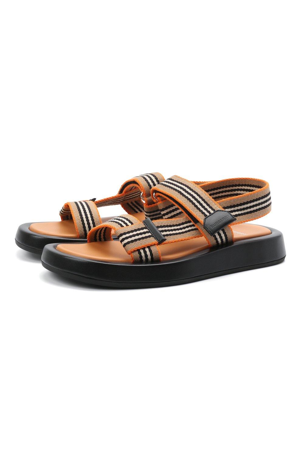 Женские комбинированные сандалии BURBERRY коричневого цвета, арт. 8040187   Фото 1 (Материал внешний: Текстиль; Подошва: Платформа; Материал внутренний: Натуральная кожа)