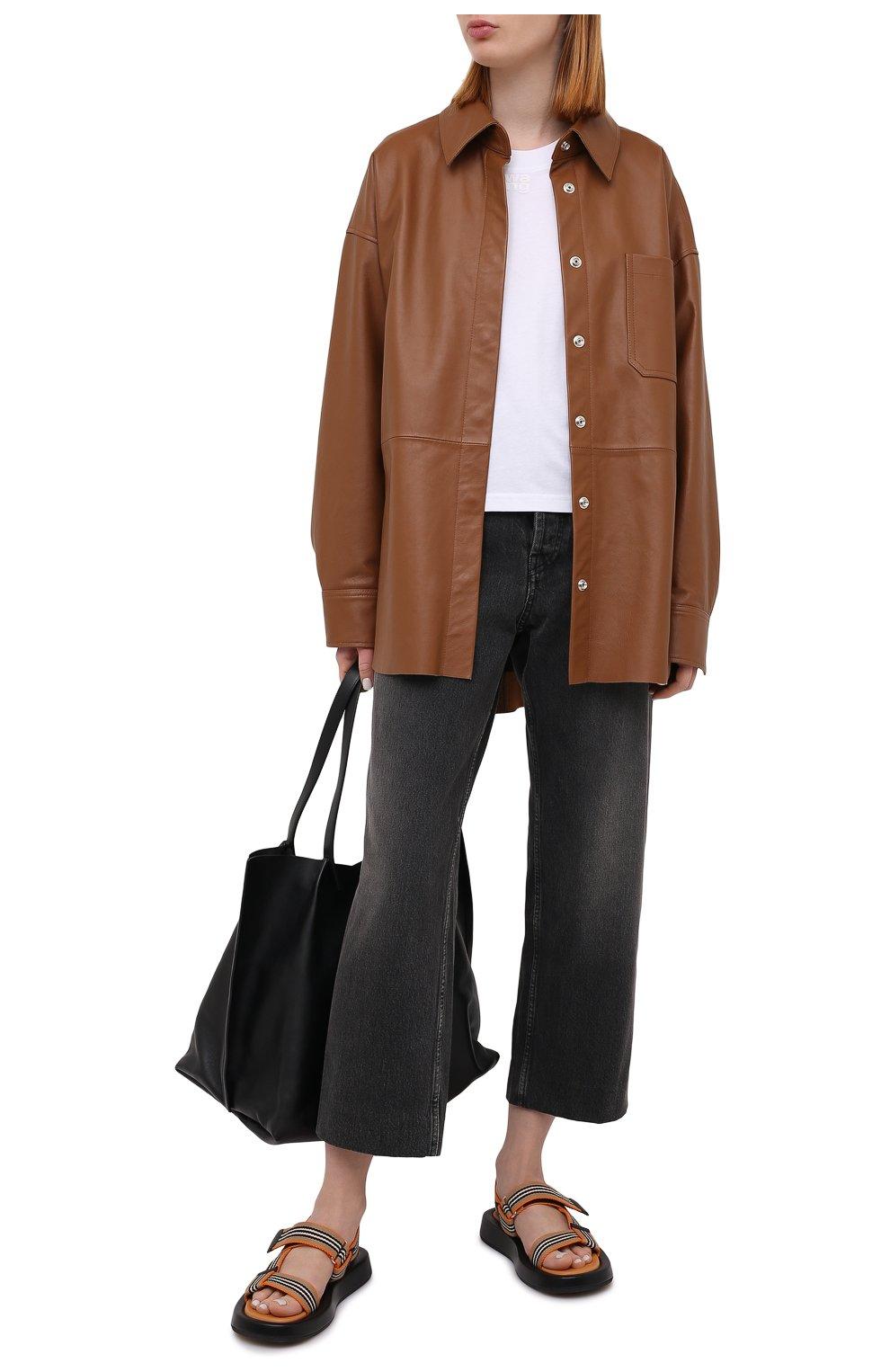 Женские комбинированные сандалии BURBERRY коричневого цвета, арт. 8040187   Фото 2 (Материал внешний: Текстиль; Подошва: Платформа; Материал внутренний: Натуральная кожа)