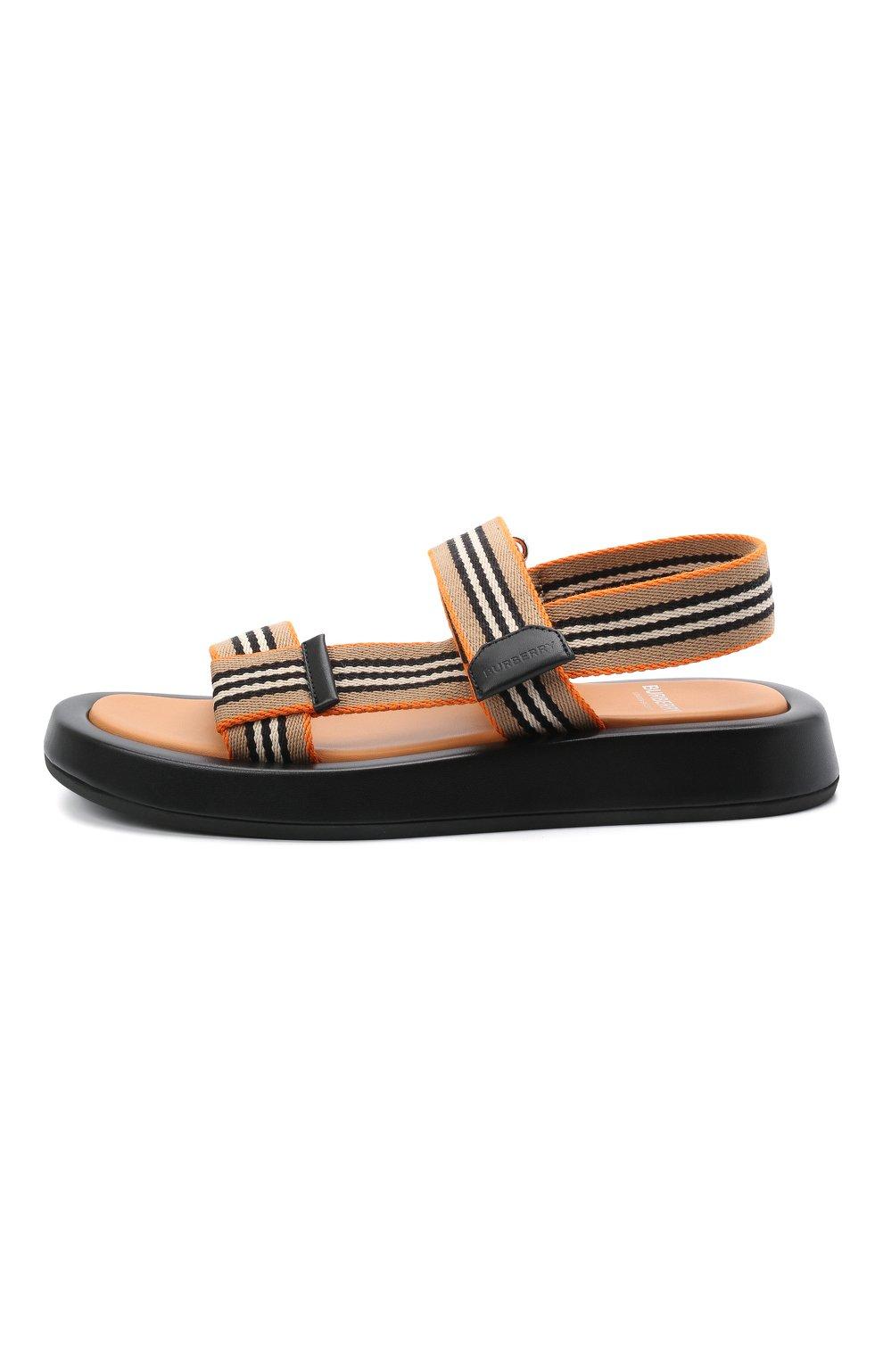 Женские комбинированные сандалии BURBERRY коричневого цвета, арт. 8040187   Фото 3 (Материал внешний: Текстиль; Подошва: Платформа; Материал внутренний: Натуральная кожа)