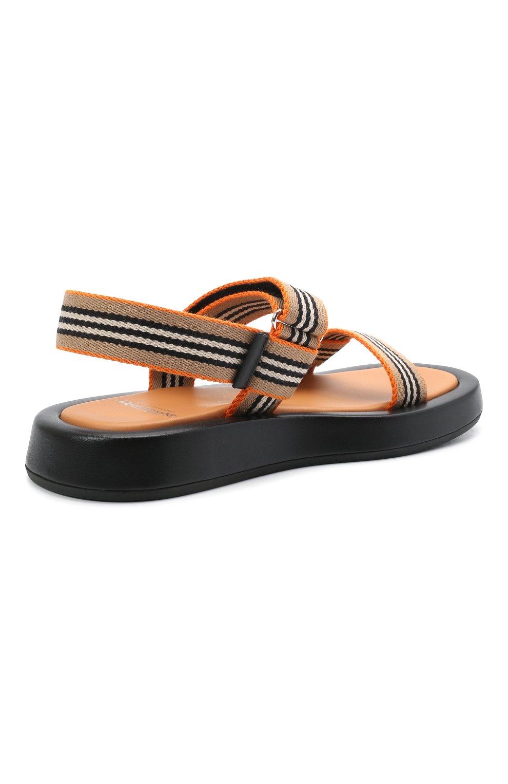 Женские комбинированные сандалии BURBERRY коричневого цвета, арт. 8040187   Фото 4 (Материал внешний: Текстиль; Подошва: Платформа; Материал внутренний: Натуральная кожа)