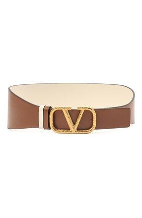 Женский кожаный пояс  VALENTINO коричневого цвета, арт. VW0T0V50/VNC | Фото 1 (Кросс-КТ: Широкие)