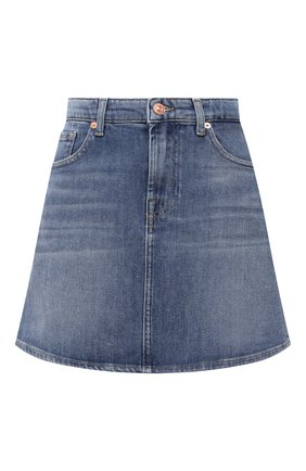 Женская джинсовая юбка 7 FOR ALL MANKIND синего цвета, арт. JSQFA500MI   Фото 1