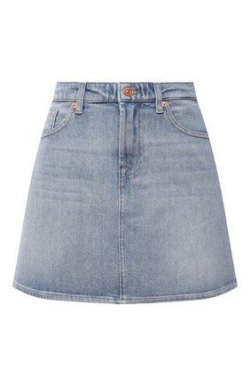 Женская джинсовая юбка 7 FOR ALL MANKIND голубого цвета, арт. JSQFA500IH   Фото 1