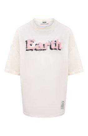 Женская хлопковая футболка MSGM светло-бежевого цвета, арт. 3042MDM290 217117 | Фото 1
