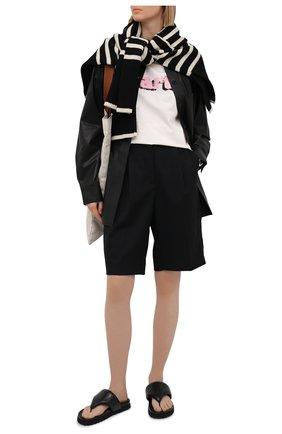 Женская хлопковая футболка MSGM светло-бежевого цвета, арт. 3042MDM290 217117 | Фото 2