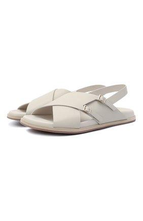 Женские кожаные сандалии SANTONI светло-серого цвета, арт. WHYE59413FPGTUDYE40 | Фото 1