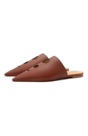 Женские кожаные сабо LOEWE коричневого цвета, арт. L814291X03 | Фото 1 (Каблук тип: Устойчивый; Материал внутренний: Натуральная кожа; Каблук высота: Низкий; Подошва: Плоская)