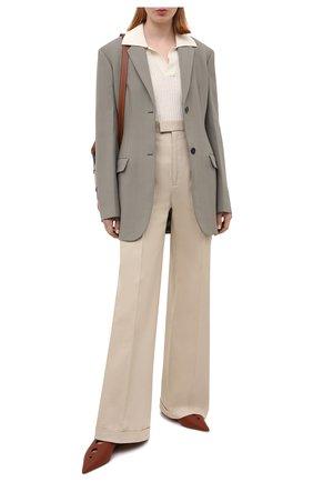 Женские кожаные сабо LOEWE коричневого цвета, арт. L814291X03 | Фото 2 (Каблук тип: Устойчивый; Материал внутренний: Натуральная кожа; Каблук высота: Низкий; Подошва: Плоская)