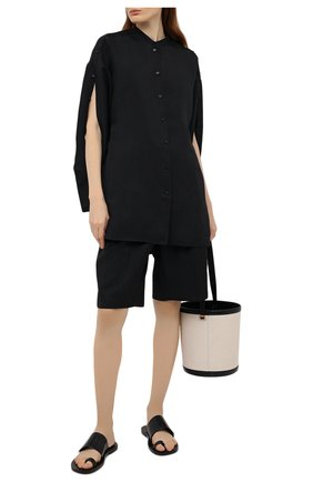 Женские кожаные шлепанцы JIL SANDER черного цвета, арт. JS36135A-13040 | Фото 2 (Подошва: Плоская; Материал внутренний: Натуральная кожа; Каблук высота: Низкий)