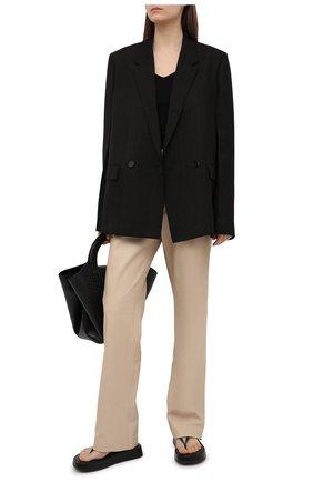 Женские кожаные брюки JOSEPH бежевого цвета, арт. JF005265   Фото 2