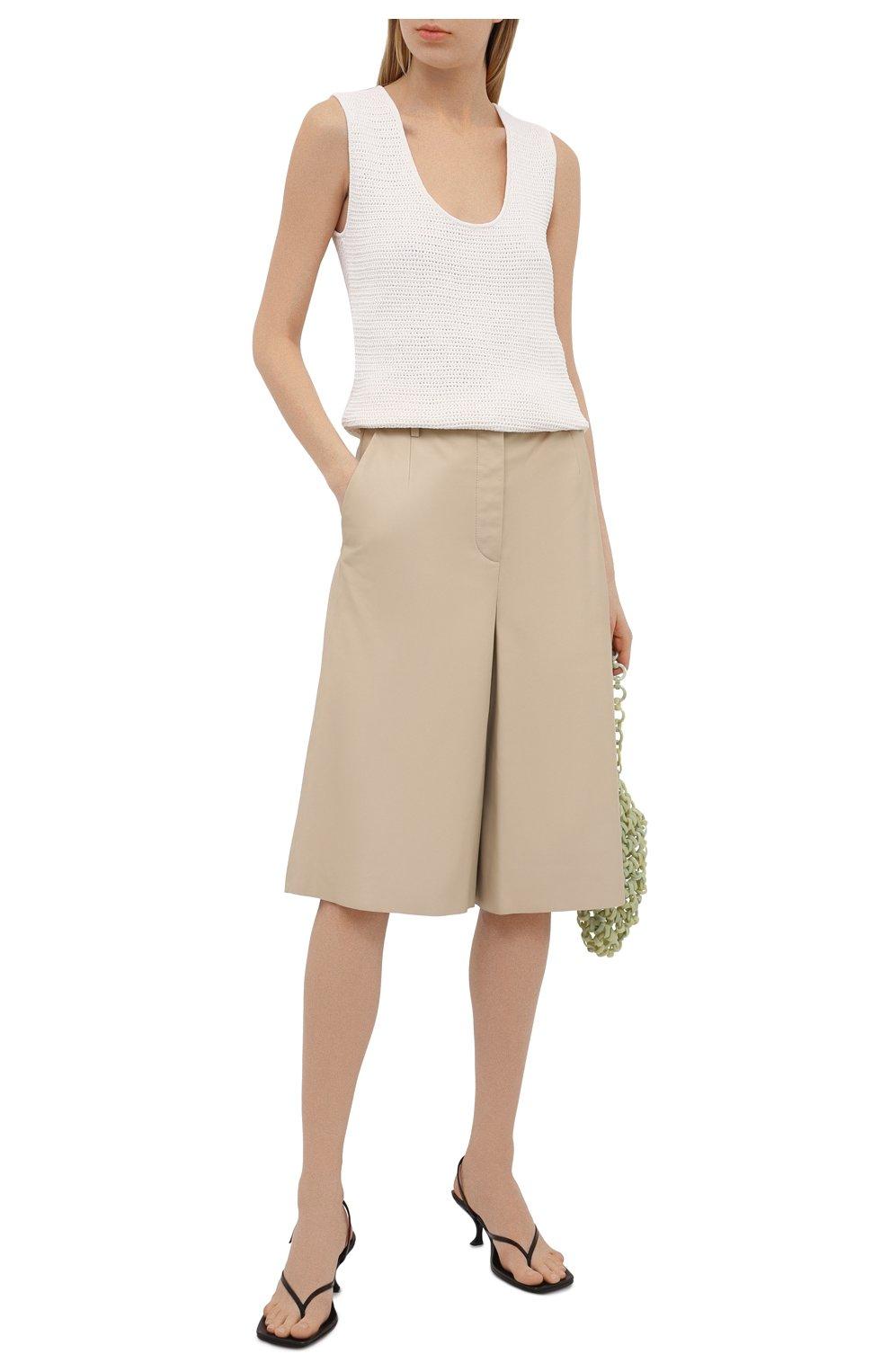 Женские кожаные шорты JOSEPH светло-бежевого цвета, арт. JF005264 | Фото 2