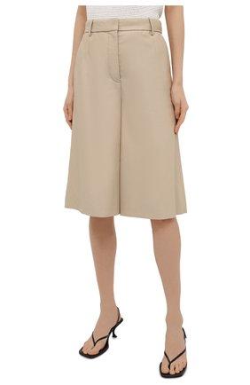 Женские кожаные шорты JOSEPH светло-бежевого цвета, арт. JF005264 | Фото 3
