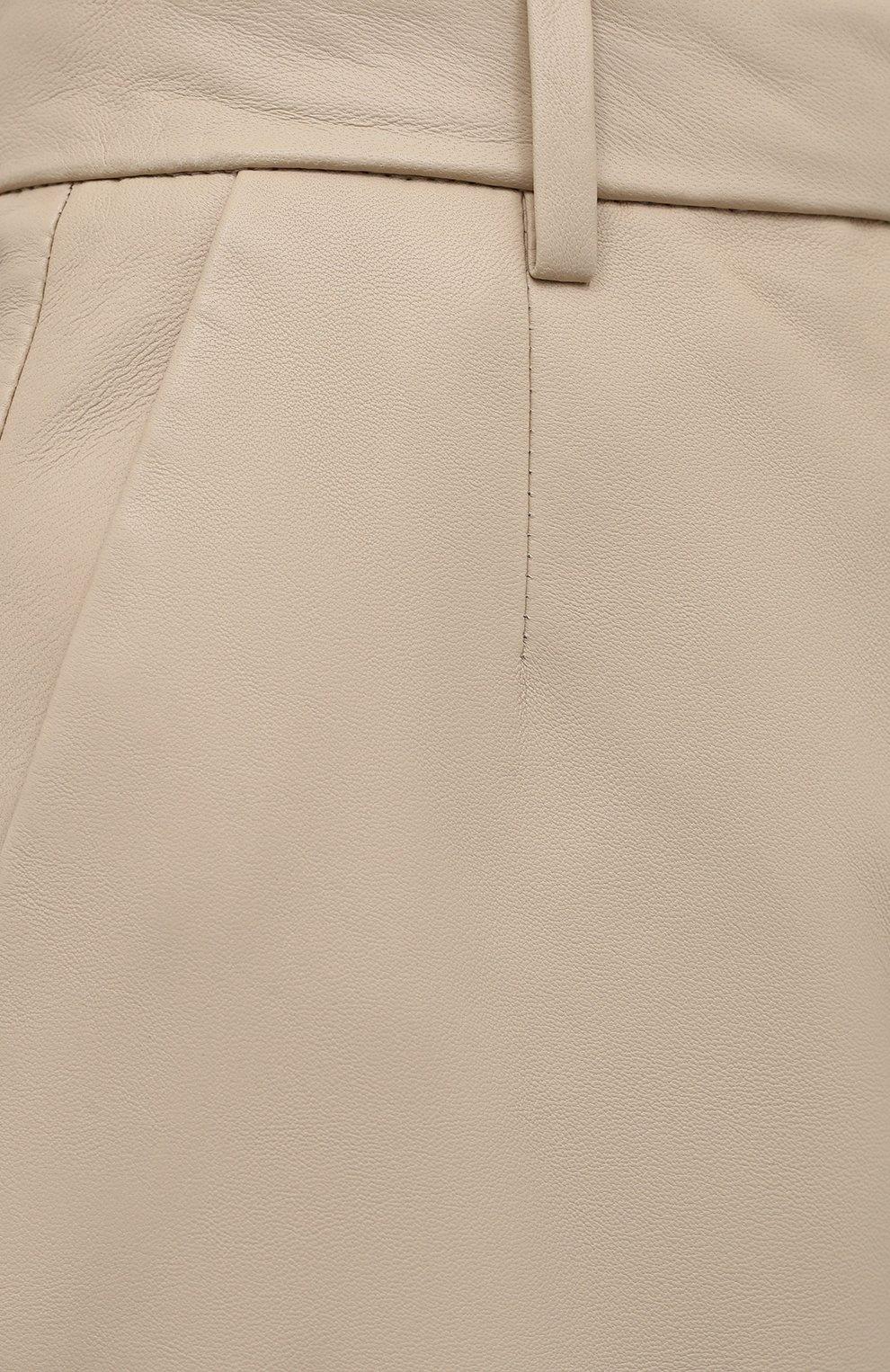 Женские кожаные шорты JOSEPH светло-бежевого цвета, арт. JF005264 | Фото 5