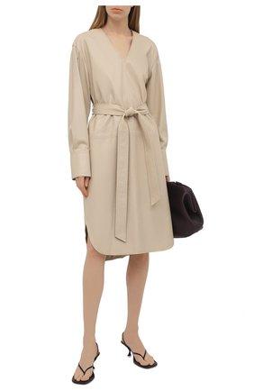 Женское кожаное платье JOSEPH бежевого цвета, арт. JF005261   Фото 2