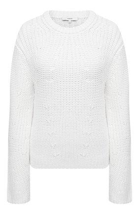 Женский хлопковый свитер VINCE белого цвета, арт. V732978702 | Фото 1