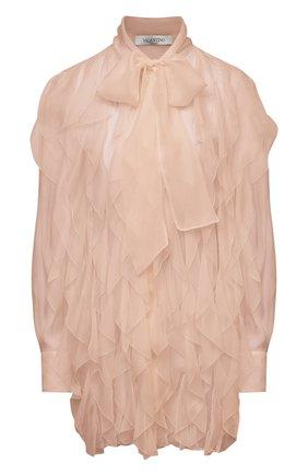 Женская шелковая блузка VALENTINO бежевого цвета, арт. VB0AB2F02UP | Фото 1