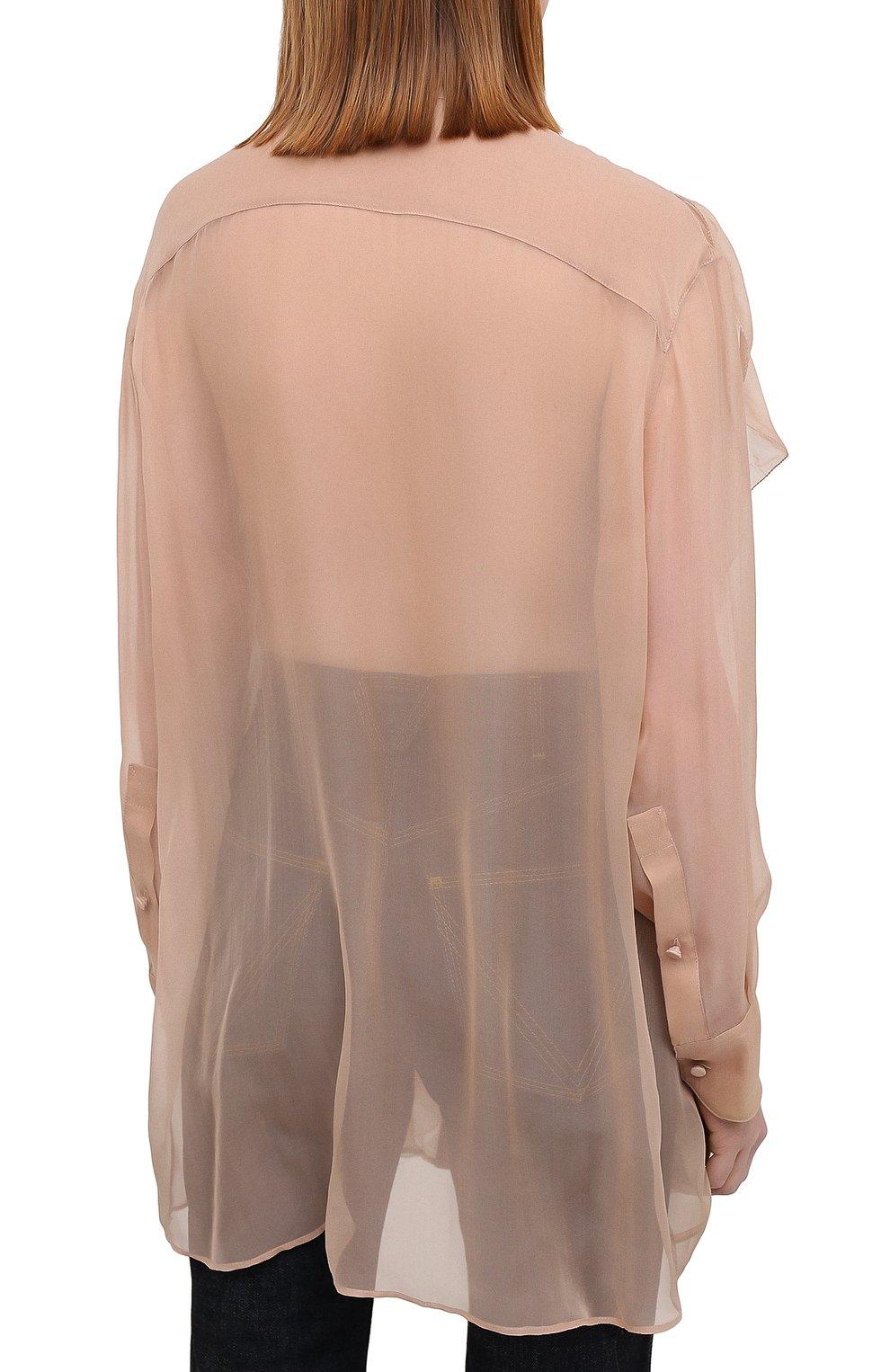 Женская шелковая блузка VALENTINO бежевого цвета, арт. VB0AB2F02UP | Фото 4
