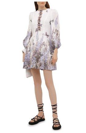 Женское льняное платье ZIMMERMANN сиреневого цвета, арт. 1107DLMI | Фото 2