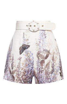 Женские льняные шорты ZIMMERMANN сиреневого цвета, арт. 1286ALMI | Фото 1