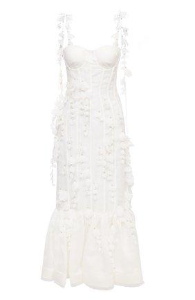 Женское платье из льна и шелка ZIMMERMANN светло-бежевого цвета, арт. 1354DB0T   Фото 1