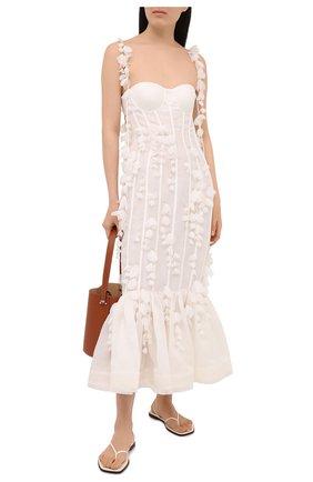 Женское платье из льна и шелка ZIMMERMANN светло-бежевого цвета, арт. 1354DB0T   Фото 2