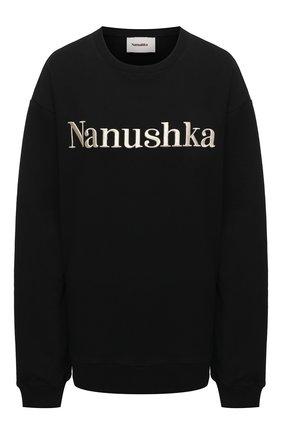 Женский хлопковый свитшот NANUSHKA черного цвета, арт. REMY_BLACK_0RGANIC FLEECE   Фото 1