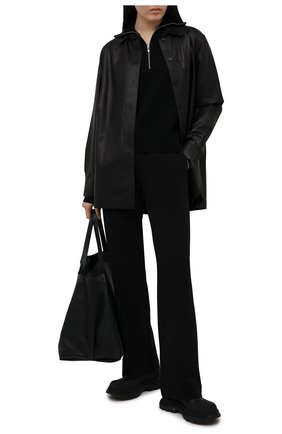 Женские хлопковые брюки DRIES VAN NOTEN черного цвета, арт. 211-11164-2629   Фото 2 (Длина (брюки, джинсы): Стандартные; Материал внешний: Хлопок; Женское Кросс-КТ: Брюки-одежда; Силуэт Ж (брюки и джинсы): Широкие; Стили: Спорт-шик)