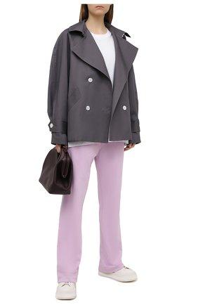 Женские хлопковые брюки DRIES VAN NOTEN сиреневого цвета, арт. 211-11164-2629 | Фото 2