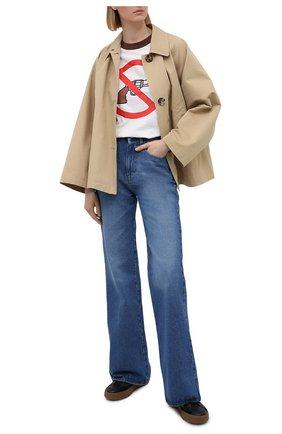 Женская хлопковая футболка NATASHA ZINKO белого цвета, арт. SS21507-06/29 | Фото 2
