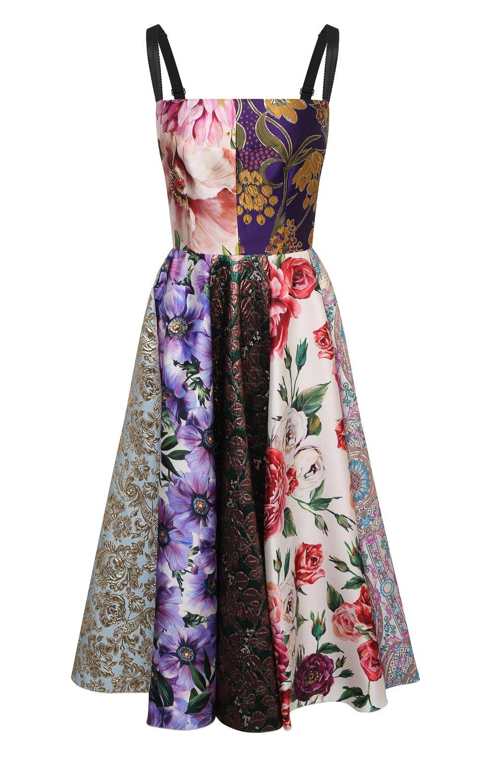 Женское шелковое платье DOLCE & GABBANA разноцветного цвета, арт. F6N0ET/GDY80 | Фото 1