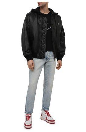 Мужские кожаные кеды sl24 SAINT LAURENT красного цвета, арт. 610618/00NH0 | Фото 2