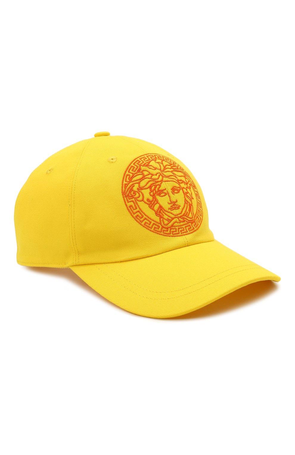 Мужской хлопковая бейсболка VERSACE желтого цвета, арт. ICAP004/1F01262   Фото 1