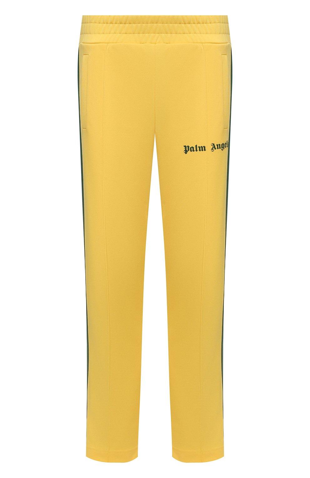 Мужские брюки PALM ANGELS желтого цвета, арт. PMCA007S21FAB0031855   Фото 1 (Мужское Кросс-КТ: Брюки-трикотаж; Длина (брюки, джинсы): Стандартные; Случай: Повседневный; Материал внешний: Синтетический материал; Стили: Спорт-шик)