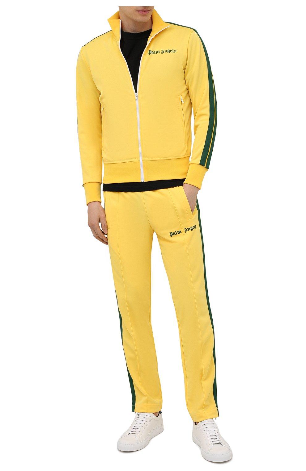 Мужские брюки PALM ANGELS желтого цвета, арт. PMCA007S21FAB0031855   Фото 2 (Мужское Кросс-КТ: Брюки-трикотаж; Длина (брюки, джинсы): Стандартные; Случай: Повседневный; Материал внешний: Синтетический материал; Стили: Спорт-шик)