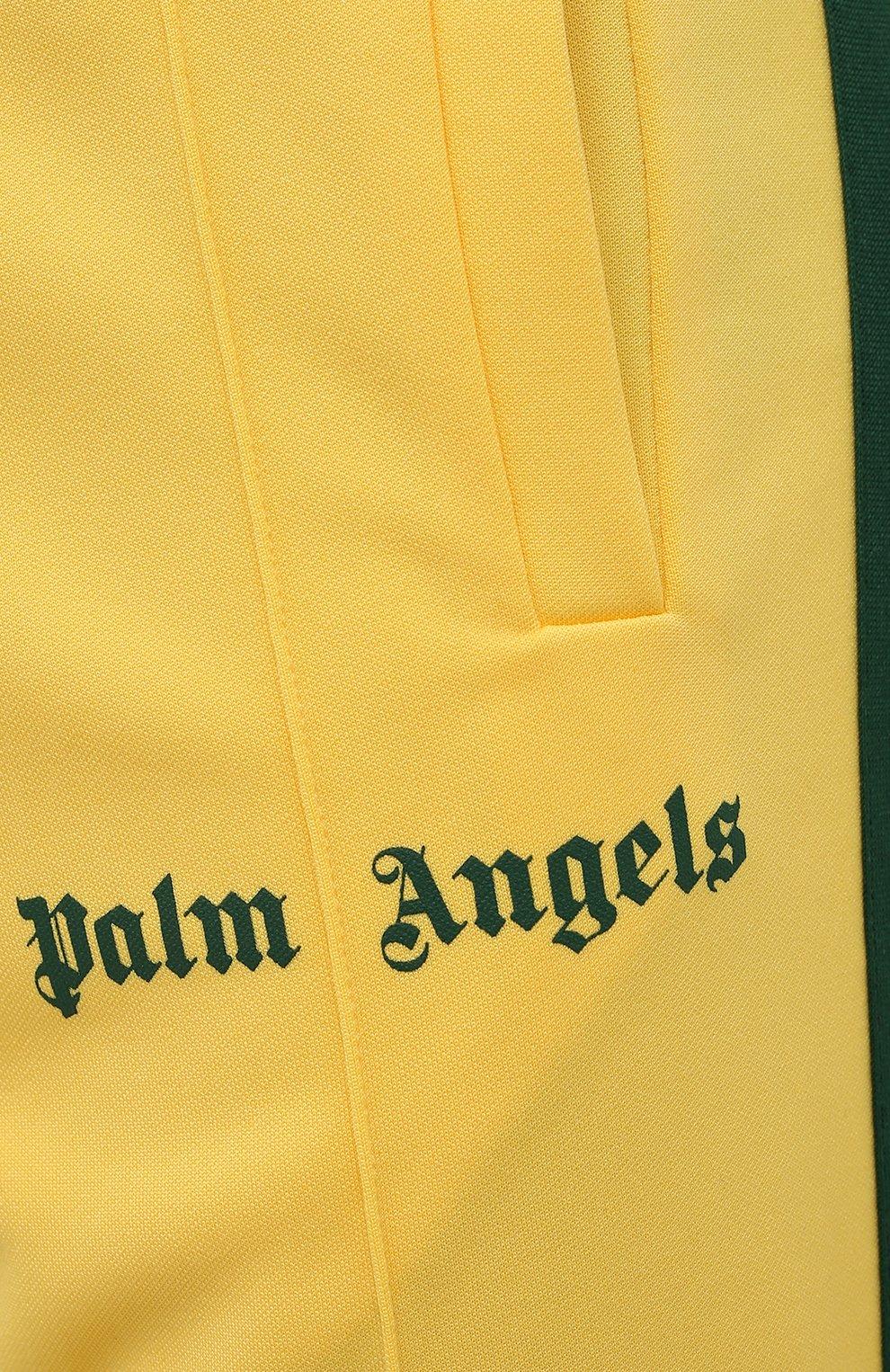 Мужские брюки PALM ANGELS желтого цвета, арт. PMCA007S21FAB0031855   Фото 5 (Мужское Кросс-КТ: Брюки-трикотаж; Длина (брюки, джинсы): Стандартные; Случай: Повседневный; Материал внешний: Синтетический материал; Стили: Спорт-шик)