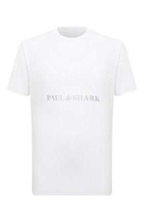 Мужская хлопковая футболка PAUL&SHARK белого цвета, арт. 21411019/HLK | Фото 1 (Материал внешний: Хлопок; Принт: С принтом; Рукава: Короткие; Стили: Кэжуэл; Длина (для топов): Стандартные)