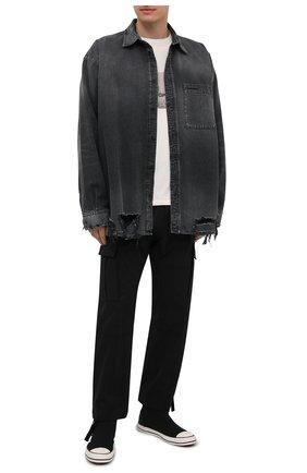 Мужские текстильные кеды PALM ANGELS черного цвета, арт. PMIA062S21LEA0011001 | Фото 2 (Материал внешний: Текстиль; Материал внутренний: Текстиль; Подошва: Плоская)