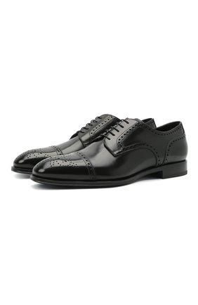 Мужские кожаные дерби W.GIBBS черного цвета, арт. 5689005/1655 | Фото 1 (Материал внутренний: Натуральная кожа; Мужское Кросс-КТ: Броги-обувь; Стили: Классический)