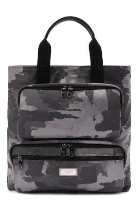 Мужская текстильная сумка-шопер DOLCE & GABBANA серого цвета, арт. BM1959/A0282 | Фото 1