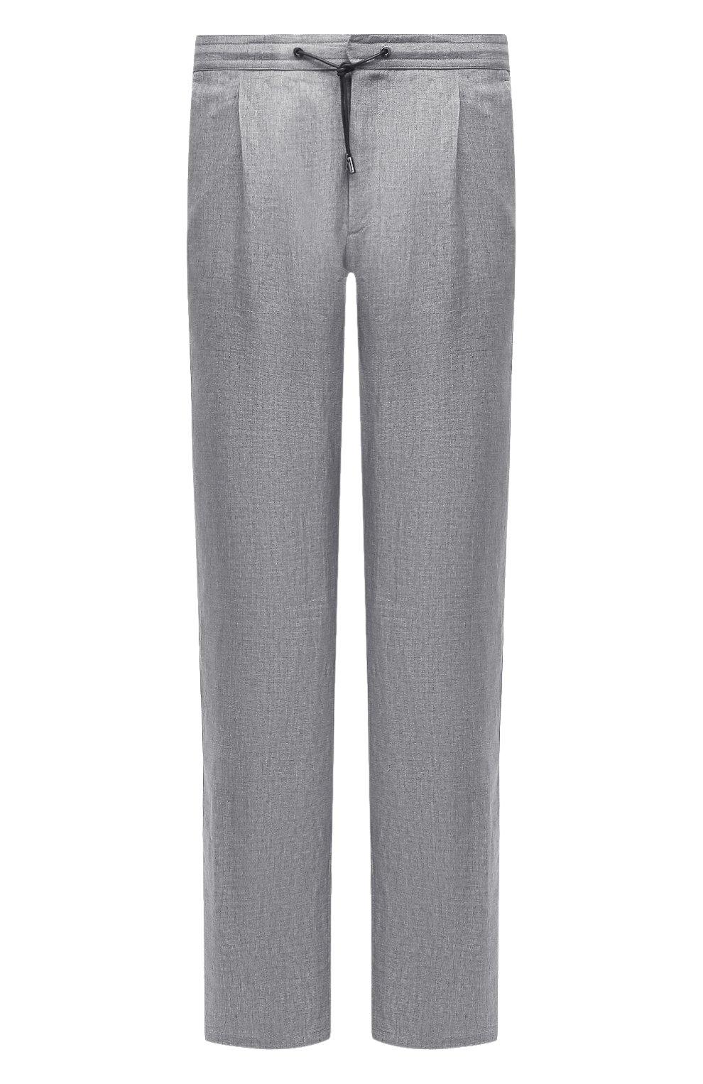 Мужские льняные брюки BRIONI серого цвета, арт. RPMJ0M/P6114/NEW JAMAICA   Фото 1 (Длина (брюки, джинсы): Стандартные; Случай: Повседневный; Материал внешний: Лен; Стили: Кэжуэл)
