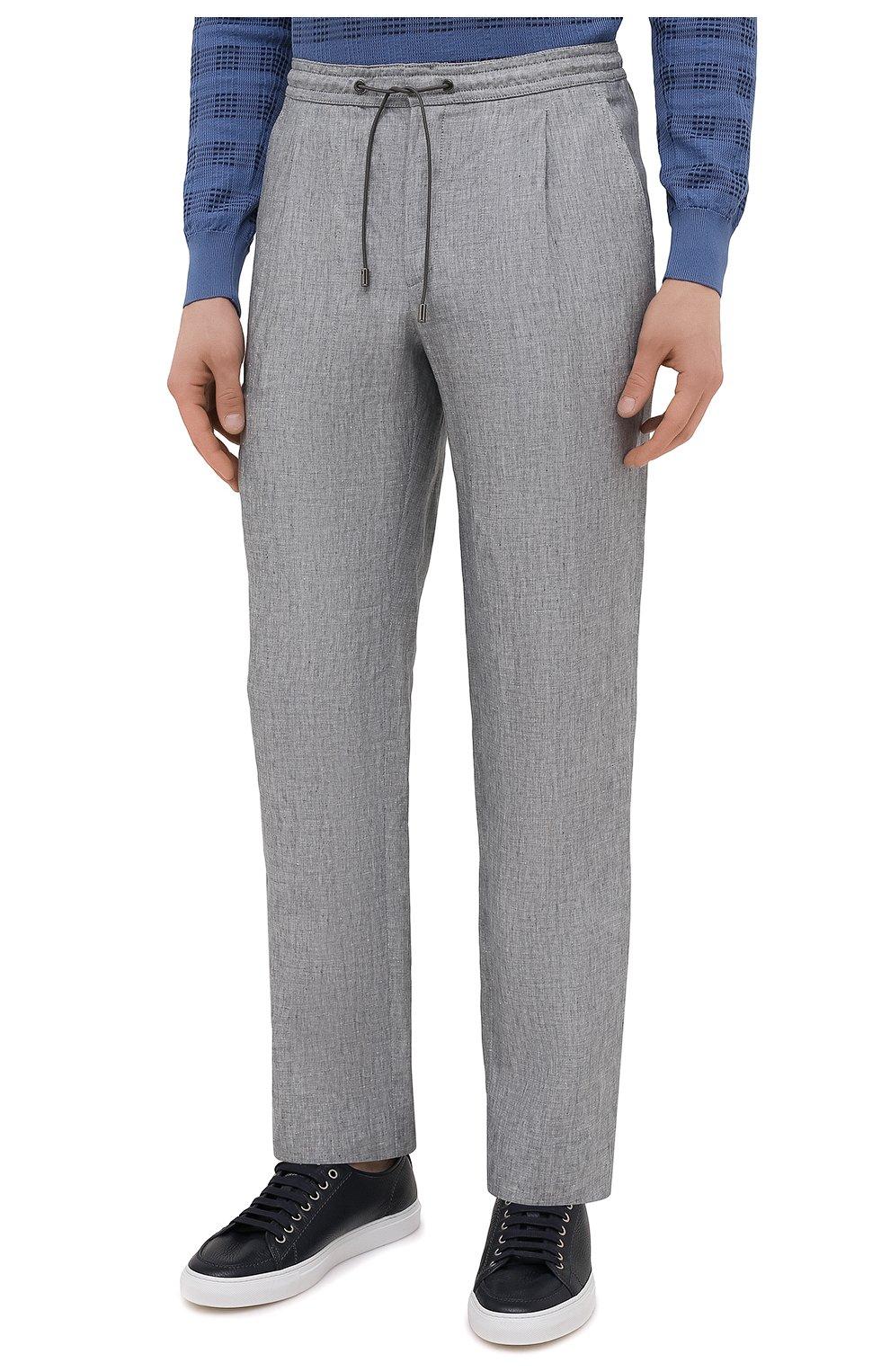 Мужские льняные брюки BRIONI серого цвета, арт. RPMJ0M/P6114/NEW JAMAICA   Фото 3 (Длина (брюки, джинсы): Стандартные; Случай: Повседневный; Материал внешний: Лен; Стили: Кэжуэл)