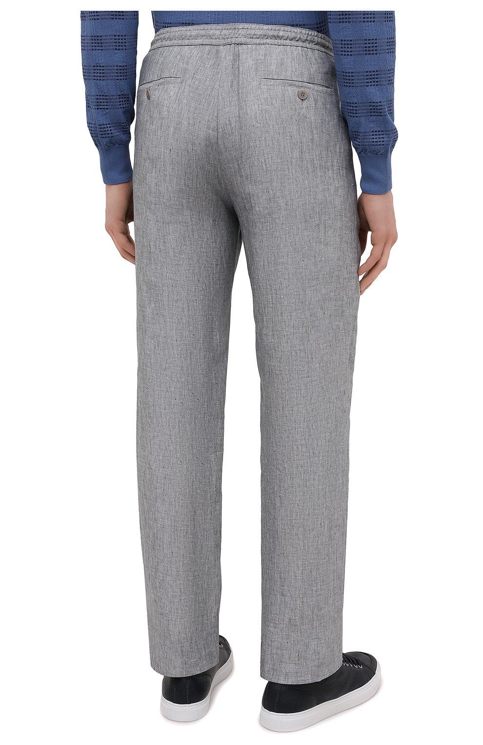 Мужские льняные брюки BRIONI серого цвета, арт. RPMJ0M/P6114/NEW JAMAICA   Фото 4 (Длина (брюки, джинсы): Стандартные; Случай: Повседневный; Материал внешний: Лен; Стили: Кэжуэл)