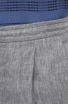 Мужские льняные брюки BRIONI серого цвета, арт. RPMJ0M/P6114/NEW JAMAICA   Фото 5 (Длина (брюки, джинсы): Стандартные; Случай: Повседневный; Материал внешний: Лен; Стили: Кэжуэл)