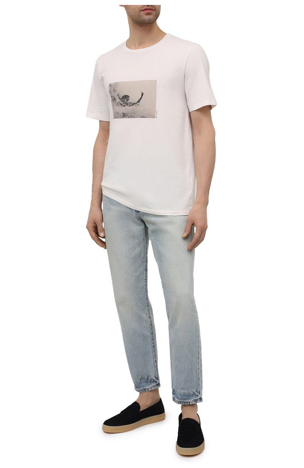 Мужские замшевые слипоны MORESCHI темно-синего цвета, арт. 43807/CQ/BAVIERA/F0D.ESTATE | Фото 2 (Материал внутренний: Натуральная кожа; Материал внешний: Замша; Стили: Кэжуэл)