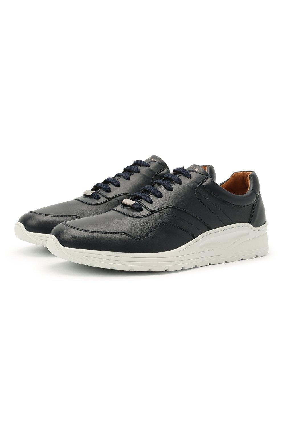 Мужские кожаные кроссовки MORESCHI темно-синего цвета, арт. 43732/BL/PR0CIDA/F.ESTATE | Фото 1 (Материал внутренний: Натуральная кожа; Стили: Классический; Подошва: Массивная)