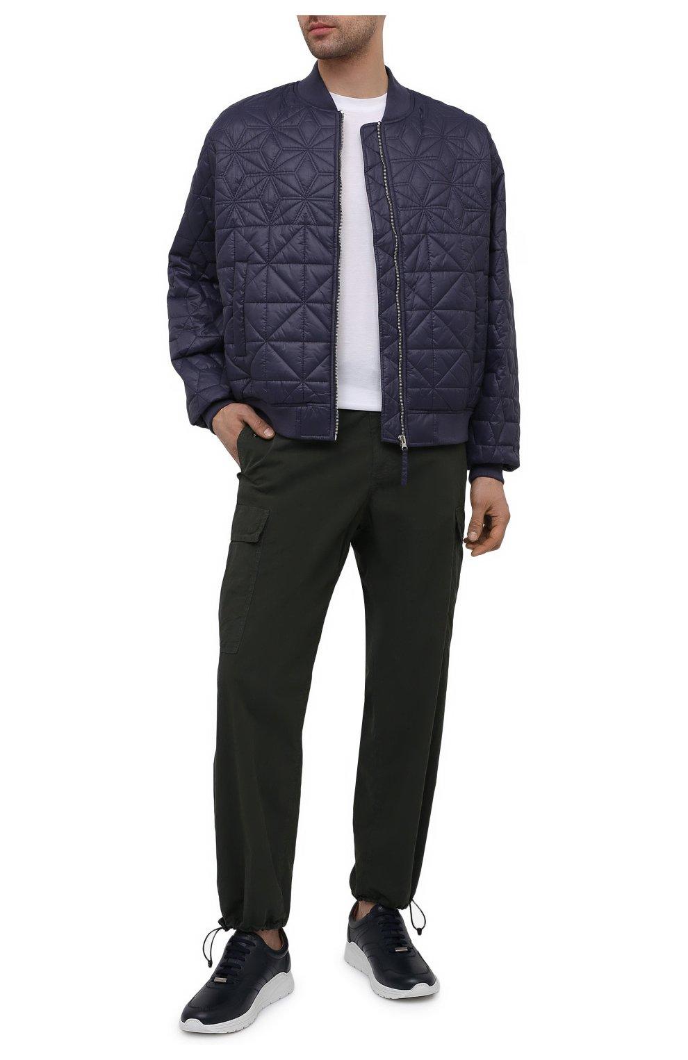 Мужские кожаные кроссовки MORESCHI темно-синего цвета, арт. 43732/BL/PR0CIDA/F.ESTATE | Фото 2 (Материал внутренний: Натуральная кожа; Стили: Классический; Подошва: Массивная)