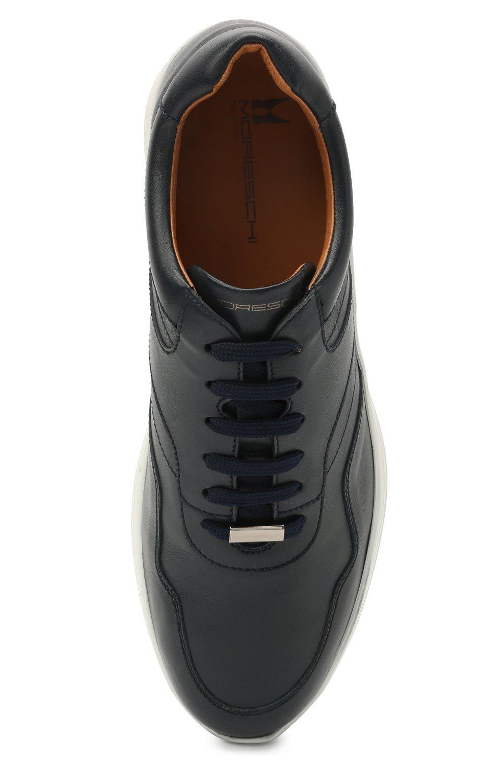 Мужские кожаные кроссовки MORESCHI темно-синего цвета, арт. 43732/BL/PR0CIDA/F.ESTATE | Фото 5 (Материал внутренний: Натуральная кожа; Стили: Классический; Подошва: Массивная)