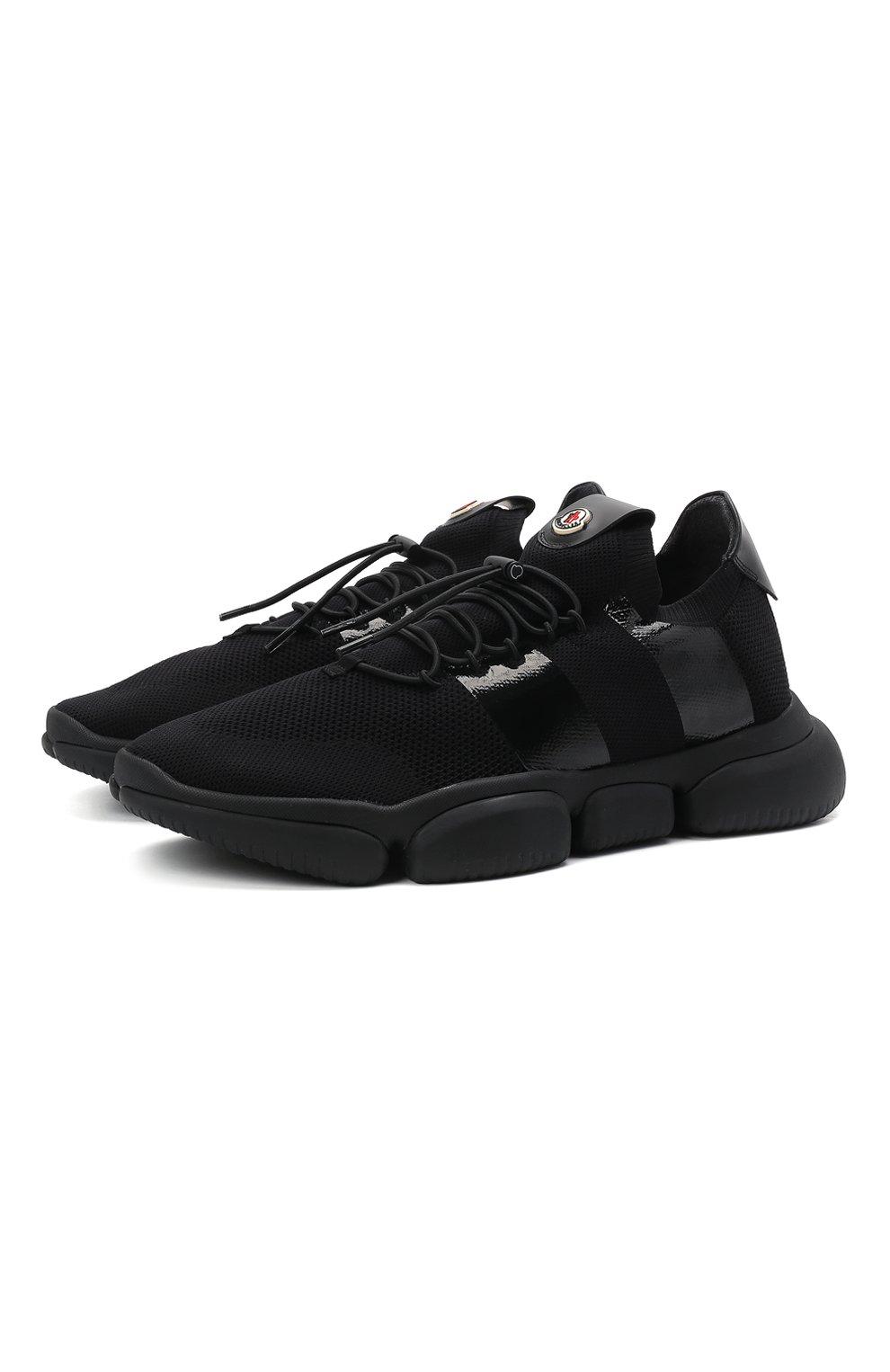 Мужские текстильные кроссовки bubble MONCLER черного цвета, арт. G1-09A-4M702-00-02S74 | Фото 1 (Материал внешний: Текстиль; Материал внутренний: Натуральная кожа; Стили: Гранж; Подошва: Массивная)